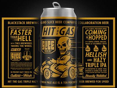 Hit the Gas racing car hops skull brethren beer craft beer packaging apparel badge illustration branding typography
