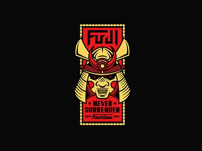 Fuji Badge athletic samurai sports jiu jitsu apparel badge illustration branding typography