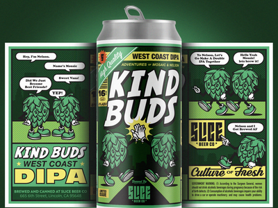 KIND BUDS friends buds hops character layout craft beer packaging badge illustration branding typography comic book comic