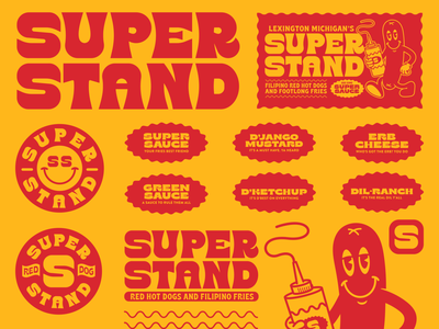 SUPERSTAND FLASH fries mustard ketchup super food branding hot dog food type identity logo badge illustration branding typography