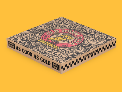 Old Town Pizza Box Mock up 2 crust california food and beverage character pizza food beer lettering packaging illustration badge branding typography
