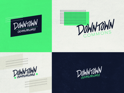 Commons WIP commons hand lettered mood logo mark typography color board branding