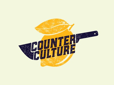 Counter Culture Revision typography mark logo lemon knife identity cooking class chef color branding