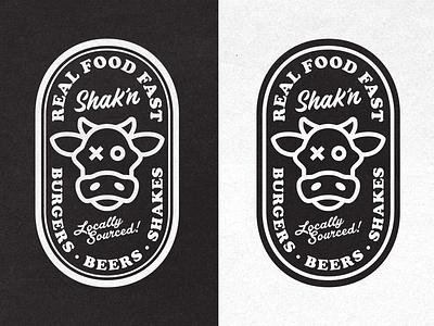 Badges restaurant fast casual logo branding identity burger cow badge