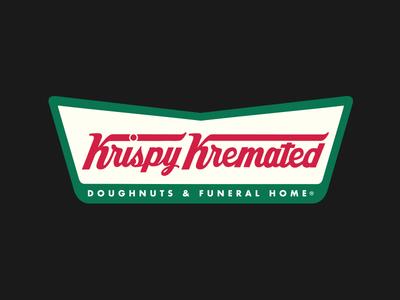 Krispy Kremated funeral donuts parody letters branding wordmark typography logo type