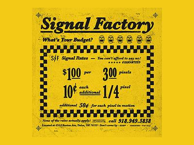 Zero Percent Interest typography illustration skull budget cab distress grit type ad