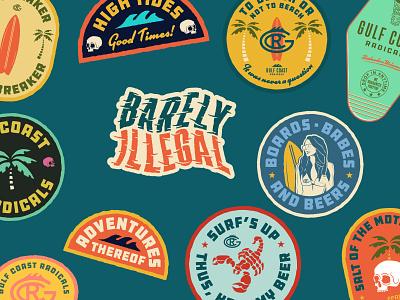 Badges illustration typography outdoors branding logos stickers badge