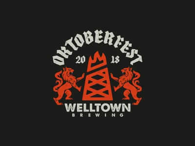 Welltown Oktoberfest Badge brewery beer texture illustration german typogaphy identity brand logo badge oktoberfest