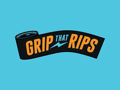 The Grip that Rips griptape grip slate badge merch design apparel branding typography design skateboarding