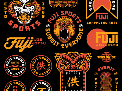 Fuji Sports Overview sports athletics fuji jiu jitsu dragon gorilla snake skull vector badge mark design apparel illustration identity typography