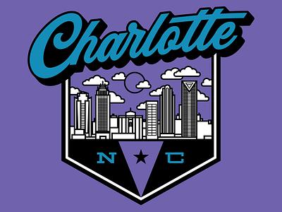 Charlotte Badge glory north carolina merch apparel custom illustration type badge typography cityscape city charlotte