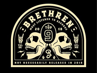 Brethren most listened indie rock punk top logo branding illustration typography 2018 records skull badge brethren music