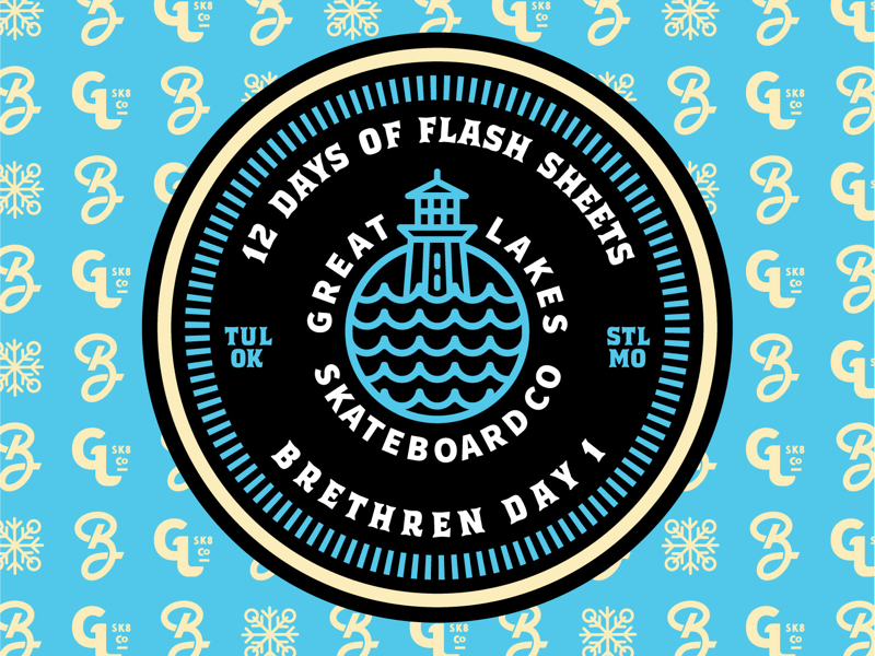 Day 1 of 12 days of flash sheets icons flash sheet great lakes skateboarding skate illustration typography logo branding badge brethren