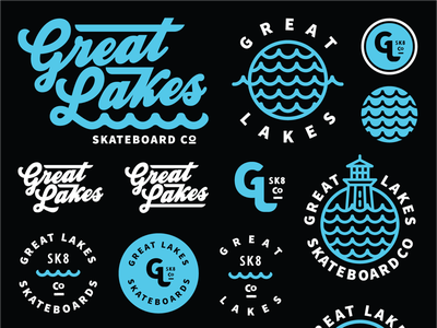 Great Lakes Skateboard co Flash Sheet icons flash sheet great lakes skateboarding skate illustration typography logo branding badge brethren