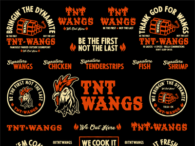 TNT Wangs branding flash sheet food truck restaurant design badge typography illustration logo branding chicken wings