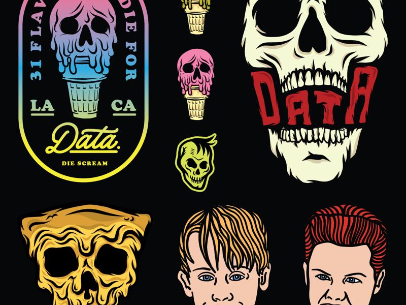 Data Crew flash sheet skull kevin ice cream home alone merch logos typography illustration apparel branding badge