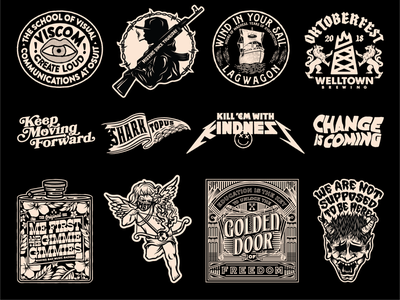 Various apparel designs lagwagon music bands merch design apparel badge branding typography illustration logo brethren