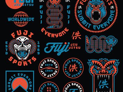 Fuji Sports Flash sheet snake skull badge illustration typography logo apparel branding jiu jitsu martial arts sports fuji