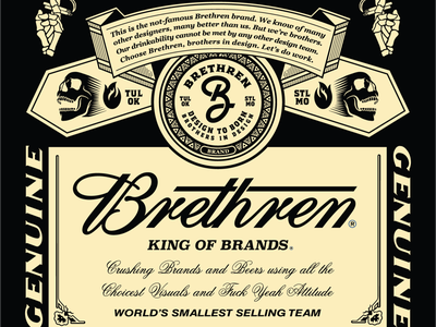 King of Brands buds king package logo badge illustration typography branding brethren beer parody label