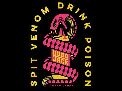 Spit Venom Drink Poison design apparel badge typography branding illustration logo party japan tokyo snake