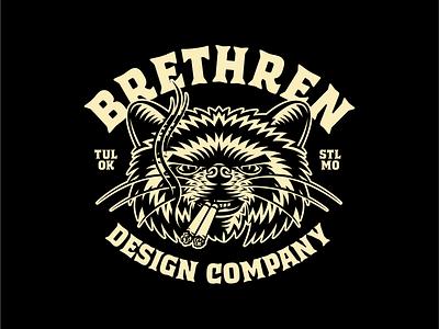 BRETHREN design logo illustration typography branding badge cigarettes smokin raccoon