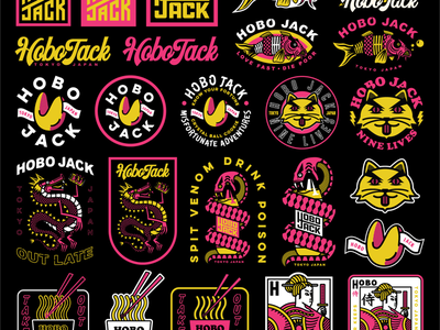 Tokyo Nights Collection koi fish fortune cookie fortune snake dragon cat ramen out late nights apparel collection badge branding typography illustration hobo jack japan tokyo
