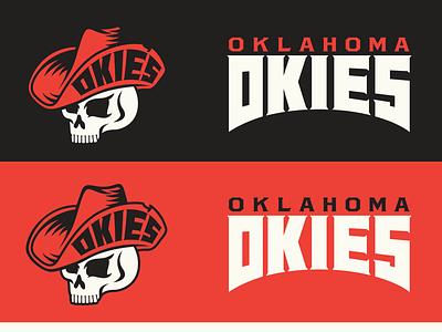 OKIES FC BRANDING oklahoma cowboy athletics rugby football skull badge illustration typography sports logo branding