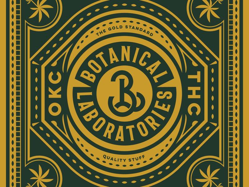 Botanical Labs OKC badge botanical packaging detail pattern illustration thc weed monogram typography mark logo branding