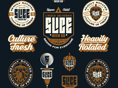 Slice Beer Co Flash Sheet custom type california hop brand kit typography illustration logo badge branding beer flash sheet