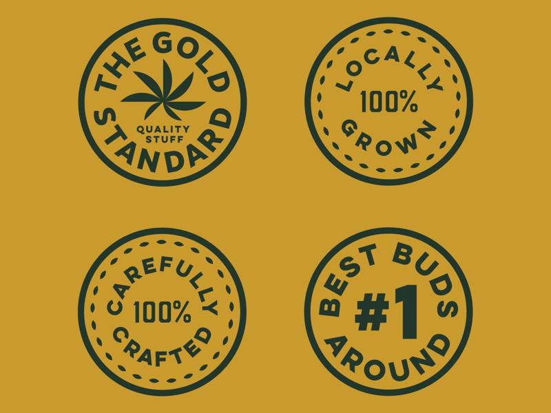 Lil Badges craft marijuana logos lock ups marks branding badge badges yellow green buds weed
