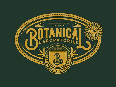 Botanical Labs Seal cannabis marijuana weed thc mark logo type lock up monogram typography branding badge packaging