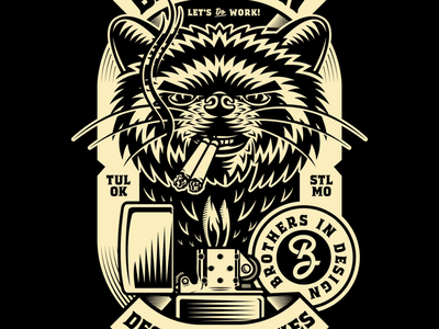 BRETHREN BADGE logo mark design work st. louis tulsa illo zippo lighter smokes illustration typography branding raccoon badge trash panda