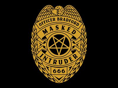 Masked Intruder Badge satan bradford officer 666 police badge merch branding badge design police masked intruder pop punk pop