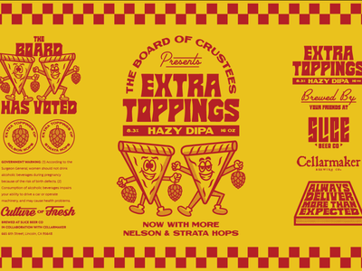 Extra Toppings label packaging logo badge typography branding illustration beer can extra toppings cellarmaker label slice beer pizza