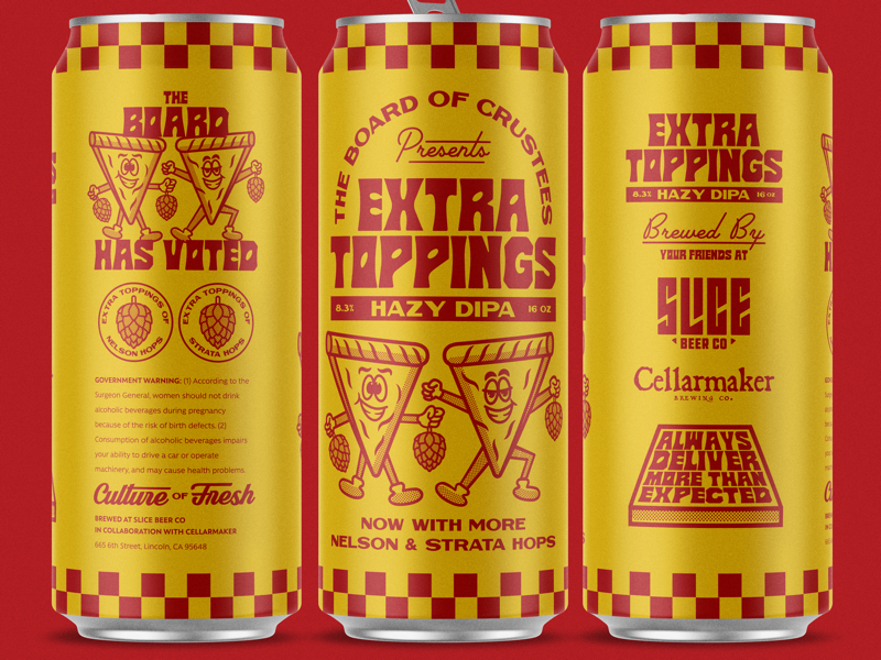 Extra Toppings mock up pizza typography badge illustration logo beer cans packaging branding beer slice
