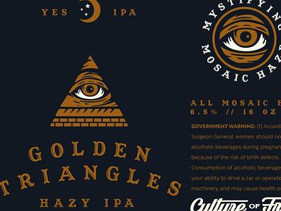 GOLDEN TRIANGLE vector identity badge branding pizza illuminati ouija typography illustration packaging beer branding