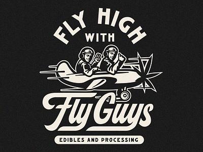 Fly high lock up vector mark script edibles illustration typography badge logo branding marijuana pot weed pilot high fly