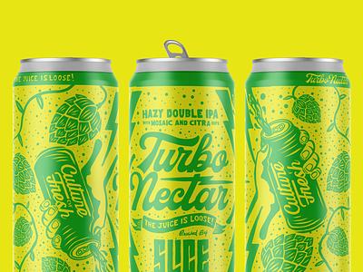 Turbo Nectar juice lettering packaging craft beer hops illustration logo typography branding beer dipa ipa nectar turbo