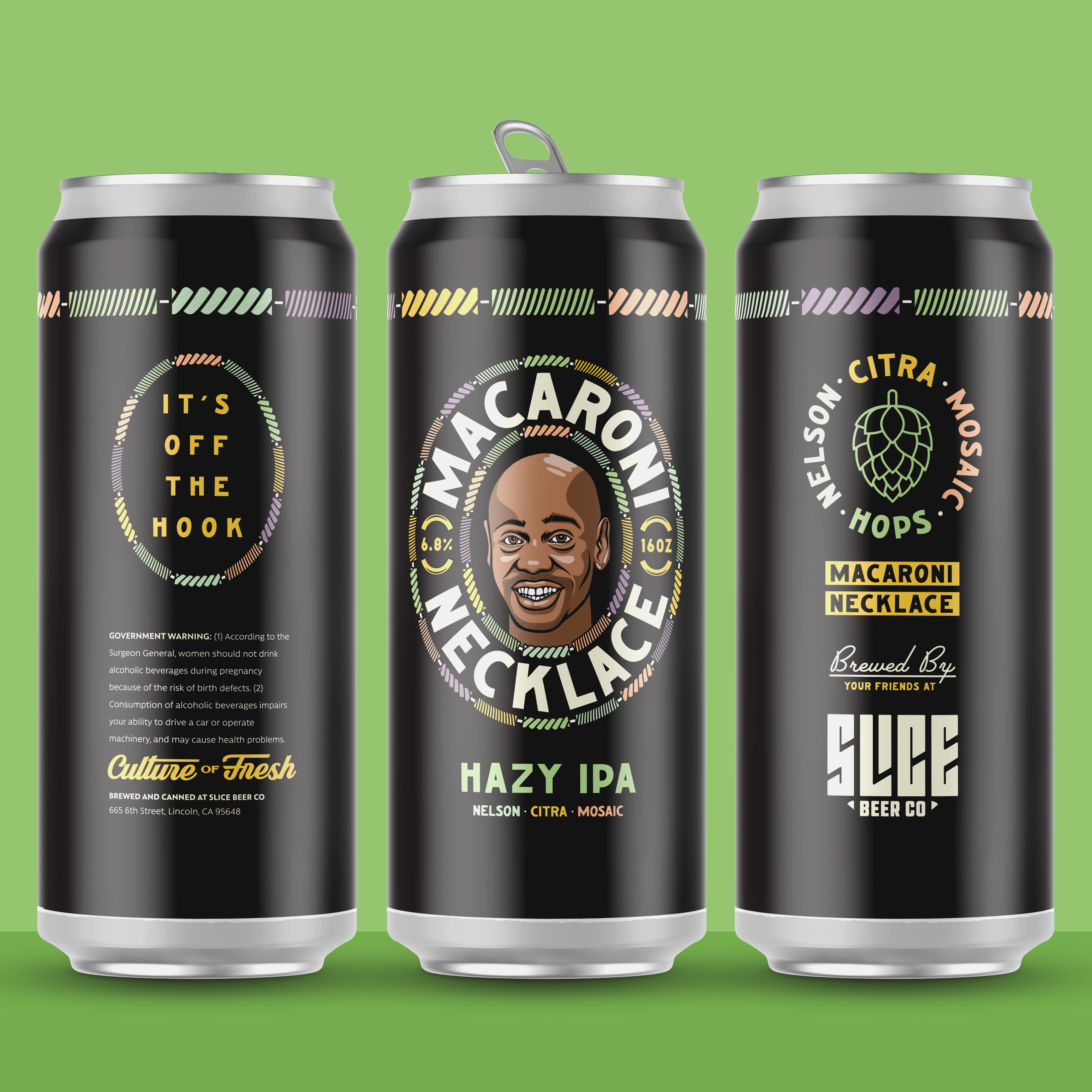 Holy Macaroni hops hazy ipa necklace chappelle dave typography badge illustration packaging branding comedy macaroni beer