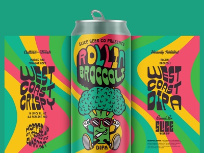 Rollin' Broccoli lil yachty weed trippy broccoli craft beer packaging lettering beer type identity badge illustration branding typography