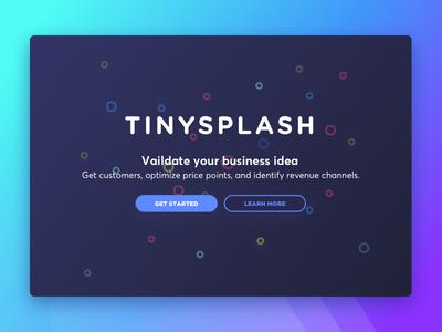 Tinysplash splash page navy bubbles landing page lean