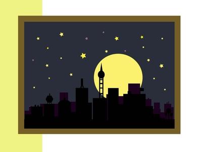 City at night frame picture silence midnight night dark blue violet yellow black sky moonshine stars moon buildings city illustration design