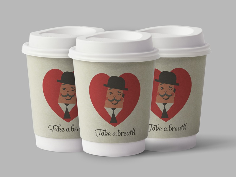 Take a breath breath cap plastic paper font mustache drink coffee a hat cup character heart relax illustration design