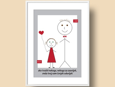 Postcard postcard verse song round frames lines heart bow tie dress red boy girl fall in love love illustration design