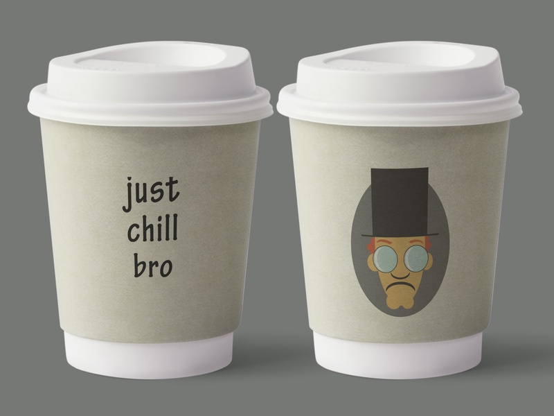 Just chill bro character design character round form a hat back side front side font text illustration design