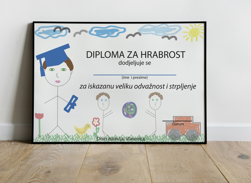 Certificate for boy frame sun cloud ball diploma certificate courageous sick colors lines hospital children drawing draft boy illustration design