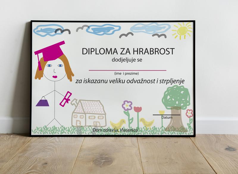 Certificate for girl frame draft colors lines design illustration bag courageous sun cloud certificate girl children hospital sick
