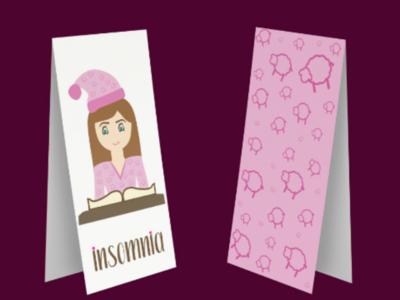 Insomnia - Bookmark font shape girl pajamas books booklovers bookmarker design illustration sheep asleep pink violet back side front side
