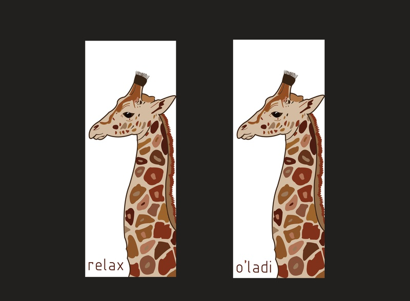 Postcard - Relax / O'ladi calm face relaxed neck beige brown colors tall postcard animal design illustration ohladi relax giraffe