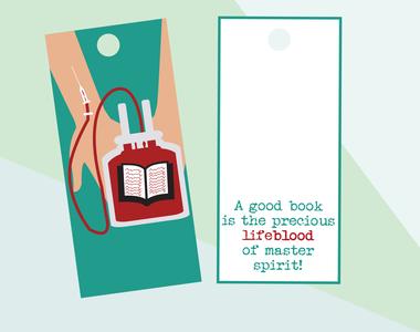 Bookmark_lifeblood feeling feel needle hand back side front side health red blood illustration design book reading bookmarks lovers book lovers bookmark